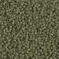 11/0 Miyuki Delica Seed Beads, Matte Opaque Olive Green, 7.2 Gram Tube