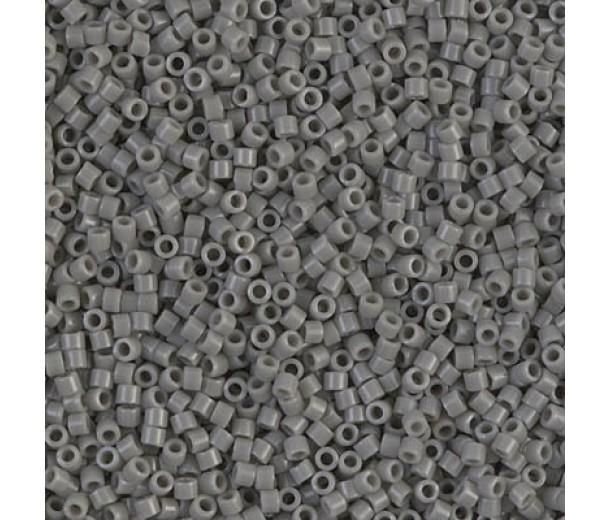 11/0 Miyuki Delica Seed Beads, Opaque Grey, 7.2 Gram Tube