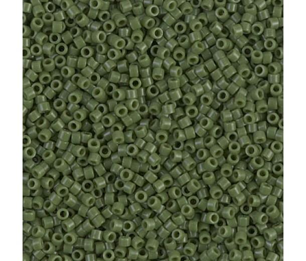 11/0 Miyuki Delica Seed Beads, Opaque Avocado Green, 7.2 Gram Tube