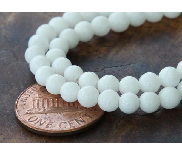 White Mountain Jade Beads, 4mm Round