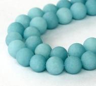 Light Teal Blue Matte Jade Beads, 10mm Round