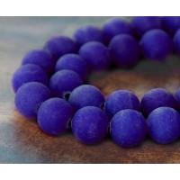 Cobalt Blue Matte Jade Beads, 10mm Round