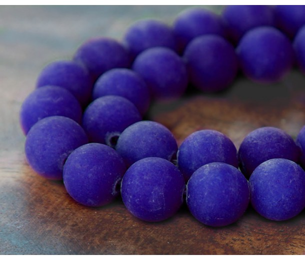 Cobalt Blue Matte Jade Beads, 10mm Round