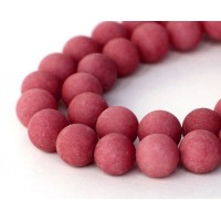 Berry Red Matte Jade Beads, 10mm Round