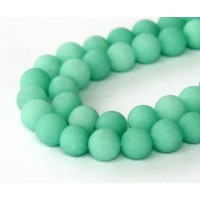 Teal Green Matte Jade Beads, 8mm Round