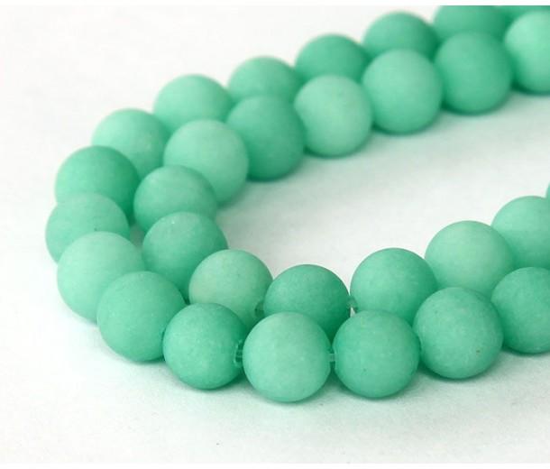 Teal Green Matte Jade Beads, 8mm Round