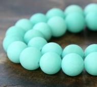 Aqua Matte Jade Beads, 10mm Round