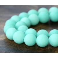 Aqua Matte Jade Beads, 8mm Round