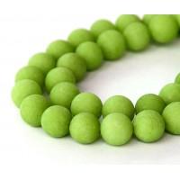 Apple Green Matte Jade Beads, 10mm Round