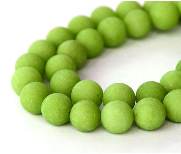 Apple Green Matte Jade Beads, 10mm Round