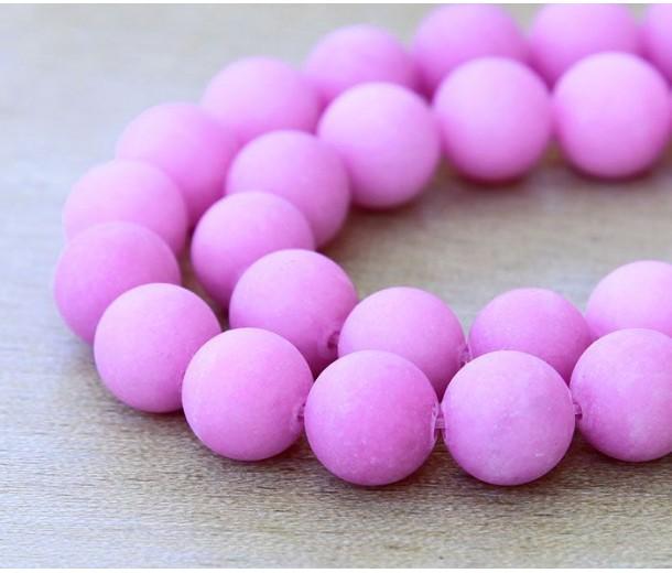 Hibiscus Pink Matte Jade Beads, 10mm Round