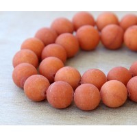 Dark Orange Matte Jade Beads, 8mm Round