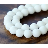 White Matte Jade Beads, 10mm Round