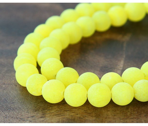 Lemon Yellow Matte Jade Beads, 8mm Round