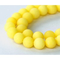 Sun Yellow Matte Jade Beads, 10mm Round