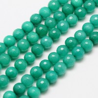Teal Green Candy Jade Beads, 8mm Faceted Round