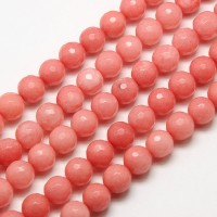 Carnation Pink Candy Jade Beads, 8mm Faceted Round