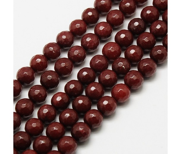 Chocolate Brown Candy Jade Beads, 8mm Faceted Round