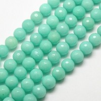 Aqua Candy Jade Beads, 6mm Faceted Round