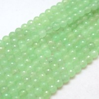 Light Green Candy Jade Beads, 8mm Faceted Round