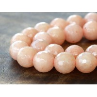 Light Peach Candy Jade Beads, 8mm Faceted Round