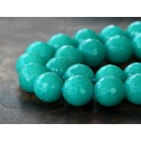Teal Blue Candy Jade Beads, 10mm Faceted Round