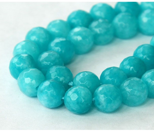 Teal Blue Candy Jade Beads, 8mm Faceted Round