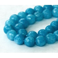 Denim Blue Candy Jade Beads, 6mm Faceted Round