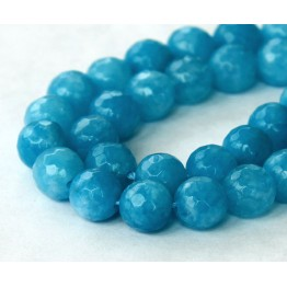 Denim Blue Candy Jade Beads, 8mm Faceted Round