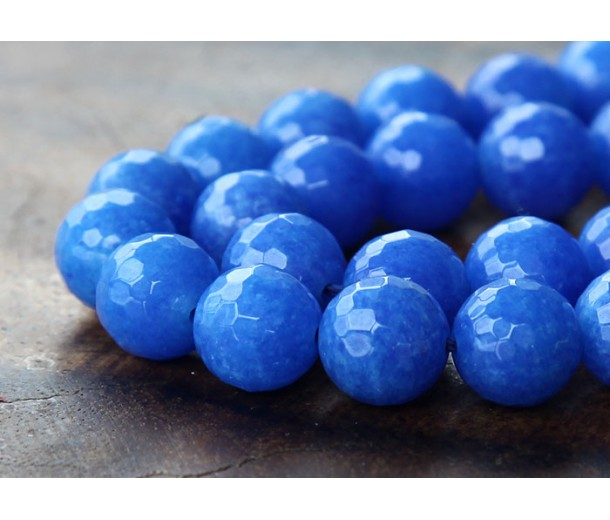 Cobalt Blue Candy Jade Beads, 10mm Faceted Round