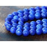 Cobalt Blue Candy Jade Beads, 6mm Faceted Round