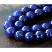 Lapis Blue Candy Jade Beads, 10mm Faceted Round