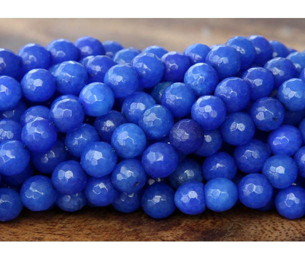Cobalt Blue Candy Jade Beads, 8mm Faceted Round