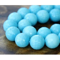 Sky Blue Candy Jade Beads, 12mm Faceted Round