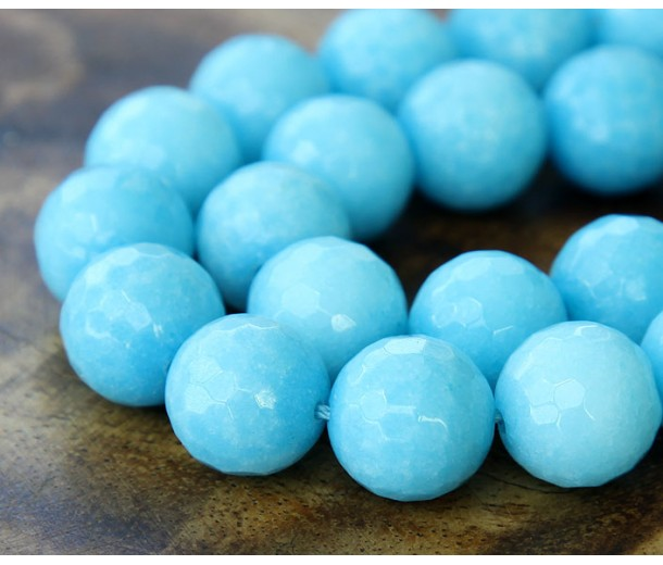 Sky Blue Candy Jade Beads, 10mm Faceted Round