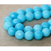 Sky Blue Candy Jade Beads, 8mm Faceted Round