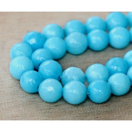Sky Blue Candy Jade Beads, 6mm Faceted Round