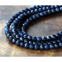 Navy Blue Candy Jade Beads, 4mm Faceted Round