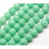 Mint Green Candy Jade Beads, 10mm Faceted Round
