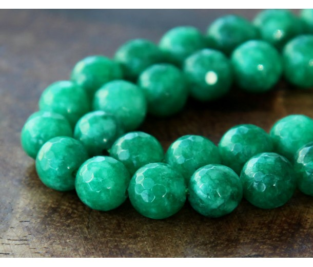Heathered Green Candy Jade Beads, 8mm Faceted Round