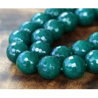 Dark Teal Candy Jade Beads, 12mm Faceted Round