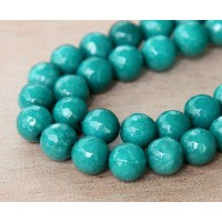 Dark Teal Candy Jade Beads, 8mm Faceted Round