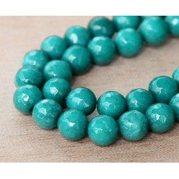 Dark Teal Candy Jade Beads, 6mm Faceted Round
