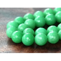 Light Forest Green Candy Jade Beads, 10mm Faceted Round