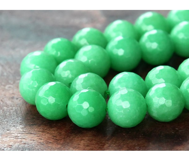 Forest Green Candy Jade Beads, 10mm Faceted Round