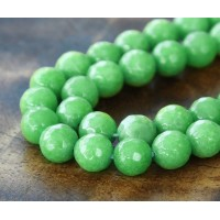 Leaf Green Candy Jade Beads, 8mm Faceted Round