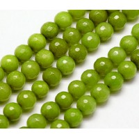 Olive Green Candy Jade Beads, 8mm Faceted Round