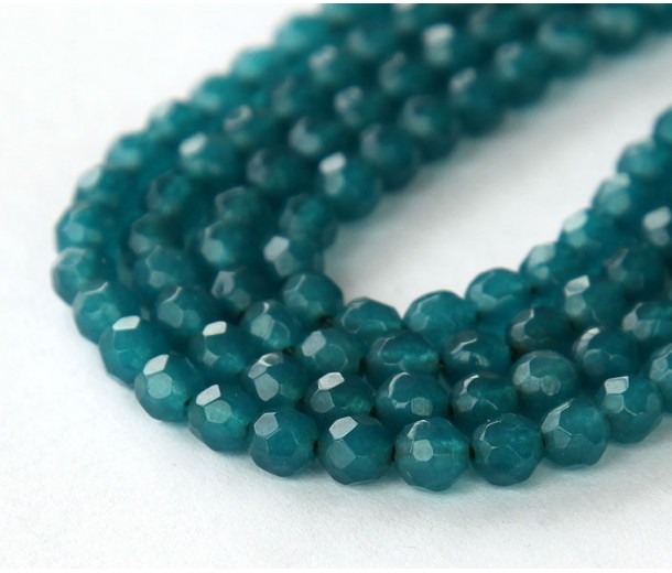 Dark Teal Candy Jade Beads, 4mm Faceted Round