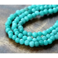Light Teal Candy Jade Beads, 4mm Faceted Round