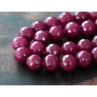 Dark Magenta Candy Jade Beads, 8mm Faceted Round